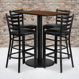 24x42-inch Rectangular Walnut Laminate Table Set with 4 Ladder Back Metal Bar Stools