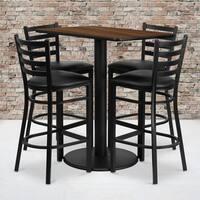 24x42-inch Rectangular Walnut Laminate Table Set with 4 Ladder Back Metal Bar Stools