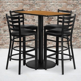 24x42-inch Rectangular Natural Laminate Table Set with 4 Ladder Back Metal Bar Stools