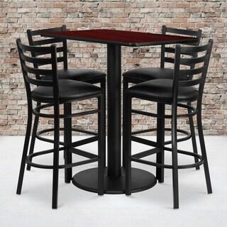 24x42-inch Rectangular Mahogany Laminate Table Set with 4 Ladder Back Metal Bar Stools