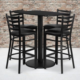 24x42-inch Rectangular Black Laminate Table Set with 4 Ladder Back Metal Bar Stools