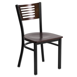 Hercules Series Black Decorative Slat Back Chair