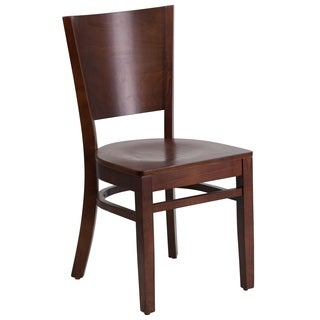 Lacey Series Solid Back Walnut Wooden Chair