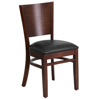 Lacey Series Upholstered Solid Back Walnut Wooden Chair