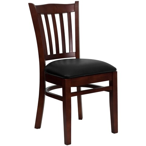 Hercules Series Mahogany Finished Vertical Slat Back Wooden Restaurant Chair