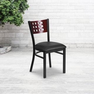 Black Cutout Back Metal Restaurant Chair