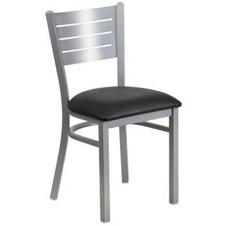 Hercules Series Silver Slat Back Chair