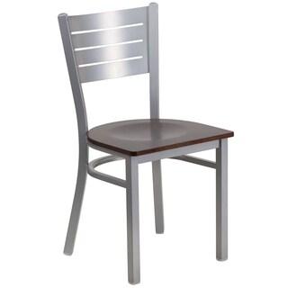 Hercules Series Silver Slat Back Restaurant Chair