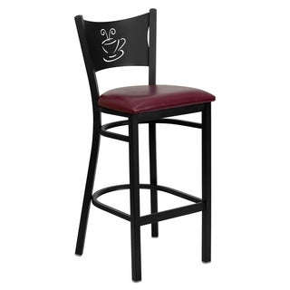 Hercules Series Upholstered Coffee Back Metal Restaurant Bar Stool