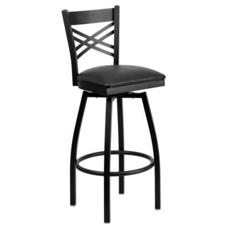 Hercules Series 'X' Back Swivel Metal Bar Stool