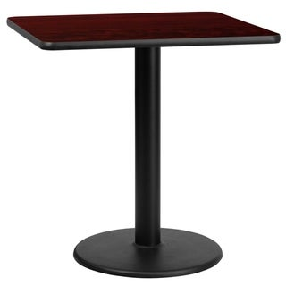 30 Square Laminate Table Top with 18 Round Table Height Base (Mahogany)
