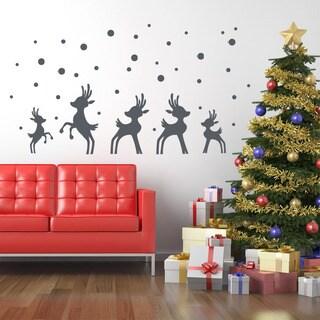 Reindeer in Snow Christmas Wall Decal