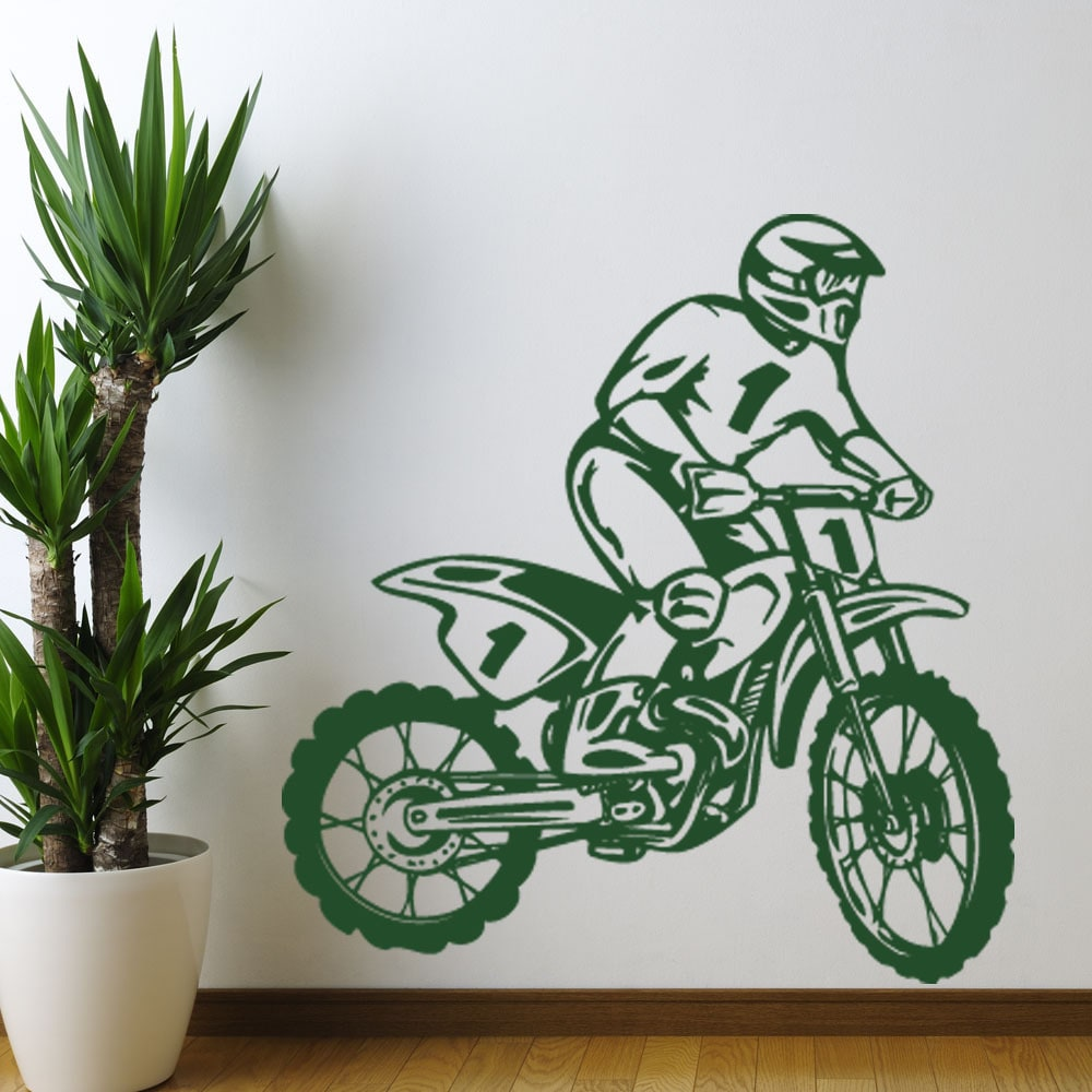 S&A Dirt Bike Rider Sport Wall Decal (24in x 25in Brown),...