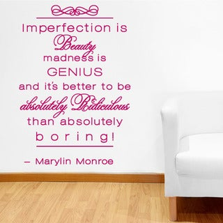 Imperfection is Beauty Quote Phrases Wall Decal