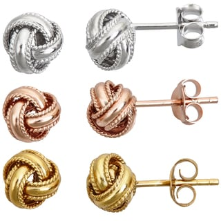 Decadence Sterling Silver Love Knot Polished Stud Earrings