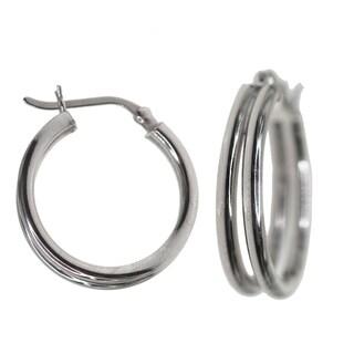 Decadence Sterling Silver 2-row Hoop Earrings