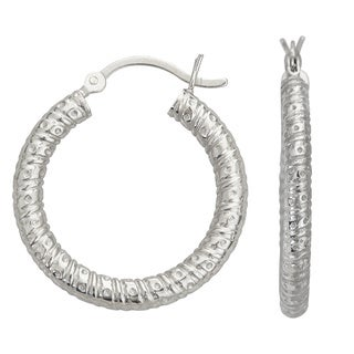 Decadence Sterling Silver Textured 3.5 mm Hoop Earrings
