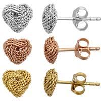 Decadence Sterling Silver Heart Knot Stud Earrings