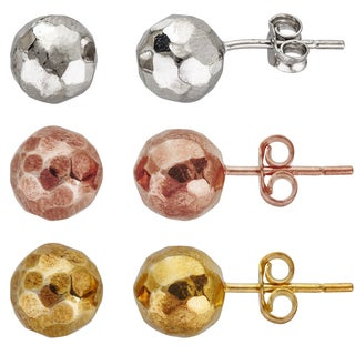Decadence Sterling Silver Faceted Ball Stud Earrings