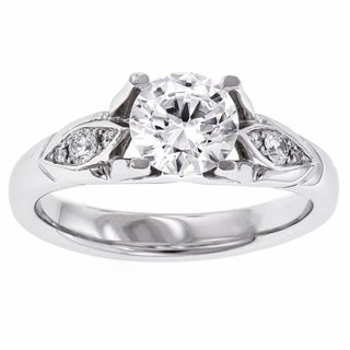 Iona MaeVona Platinum Cubic Zirconia and 1/10ct TDW Diamond Ring (G-H, VS1-VS2)
