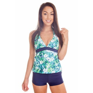 Dippin' Daisy's Blue Flower Halter Tankini with Boyshorts
