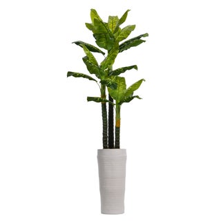 Laura Ashley 93-inch Real Touch Evergreen In Fiberstone Planter