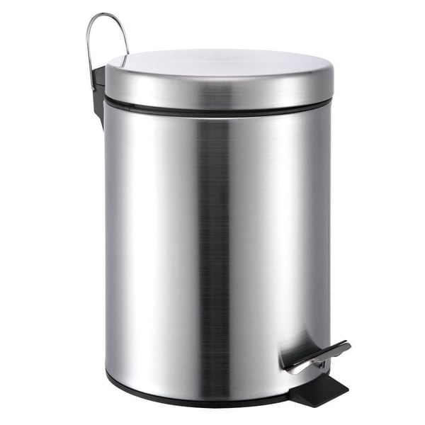 Round Stainless Steel Step Lift Lid 5 Liter Garbage Can