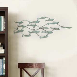 Adeco Decorative Distressed Blue Iron School of Fish Wall Decor|https://ak1.ostkcdn.com/images/products/10673894/P17738156.jpg?impolicy=medium