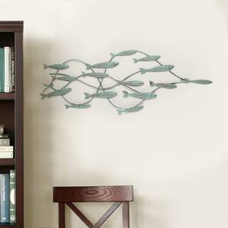 Adeco Decorative Distressed Blue Iron School of Fish Wall Decor