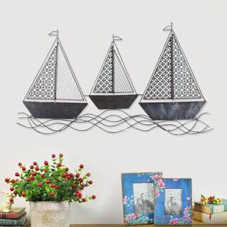Adeco Decorative Distressed Blue/ Black Three Sailboats Wall Decor