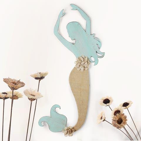 Distressed Mermaid Blue Iron and Burlap Wall Decor