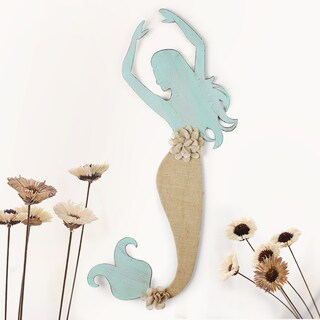 Adeco Distressed Mermaid Blue Iron and Burlap Wall Hanging