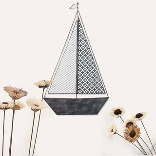 Adeco Decorative Distressed Blue/Black Iron Wall Hanging Decor Widget Sailboat