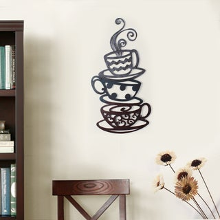 Iron Coffee Tea Cups Wall Ornament