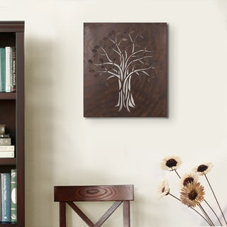 Adeco Decorative Brown Rusted Iron Laser-cut Tree, Rectangular Wall Hanging Decor Widget