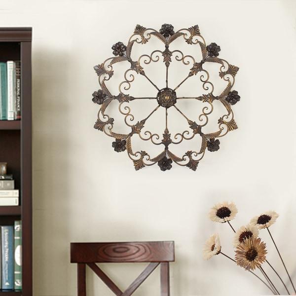 Bronze Home Decor: Shop Adeco Decorative Bronze-Color Iron Round Flower