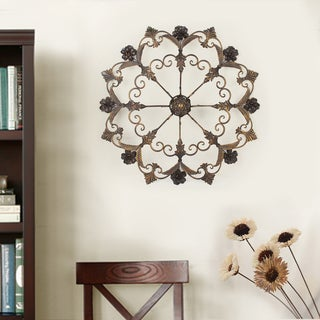 Adeco Decorative Bronze-Color Iron Round Flower Starburst Design Wall Decor