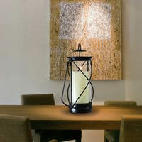 Adeco Decorative Iron Vertical Table Standing Vintage Hand Lantern Light Style Candle Pillar Holder