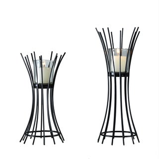 Adeco Set of 2 Metal Stand with Glass Candle Holder