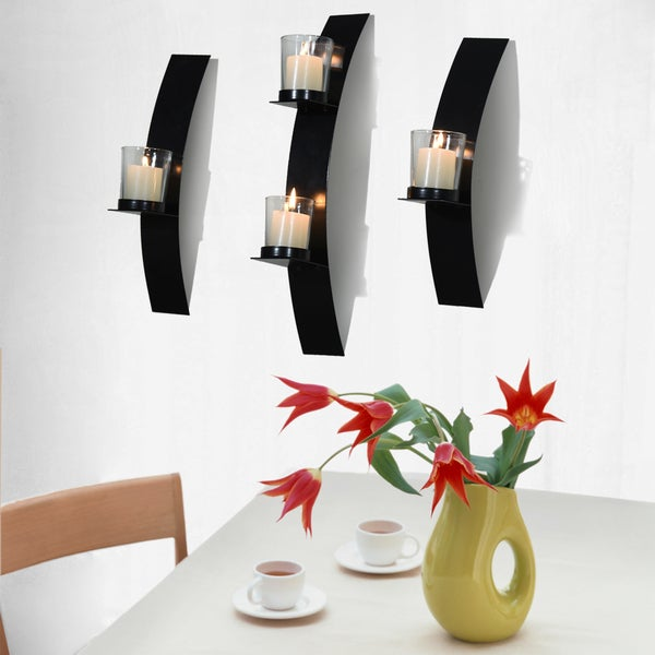 Adeco Metal Wall Sconces with Glass Candle Holder Set of 3