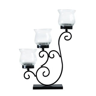 Adeco Metal Stand with Glass Candle Holder