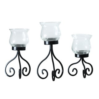 Adeco Set of 3 Metal Stand with Glass Candle Holder