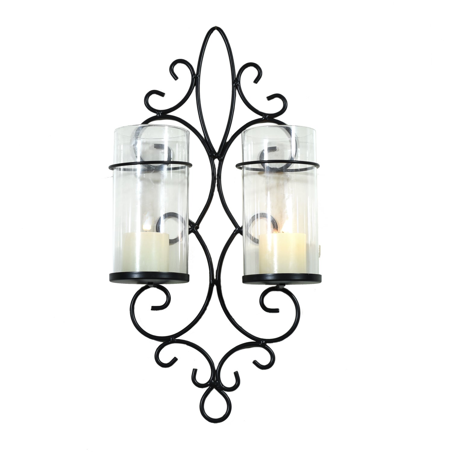 Adeco Metal Wall Sconces with 2 Glass Candle Holders (black)