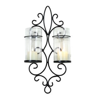 Adeco Metal Wall Sconces with Glass Candle Holders