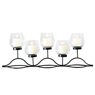 Adeco Metal Wave Stand with Glass Candle Holder