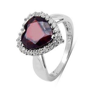 Olivia Leone Sterling Silver 3 7/8ct Garnet and White Topaz Ring
