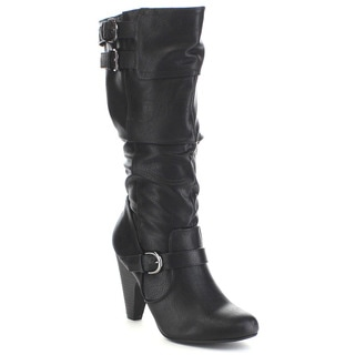 SODA REMOTE Women's Slouchy Multi Buckle Strap Kitten Heel Knee High Boots