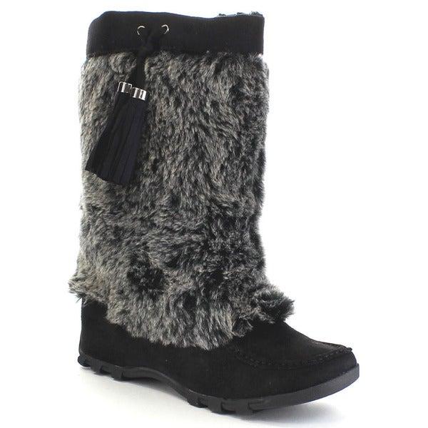 Shop Soda Ski Women S Moccasin Soft Faux Fur Lace Up Mid