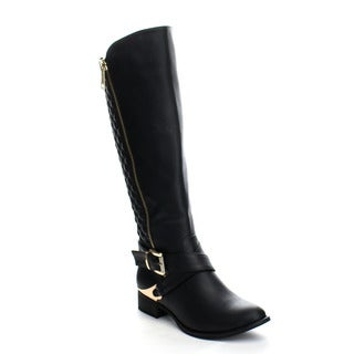 PAZZLE GA49 Women's Comfy Side Zipper Diamond Shape Deco Knee High Boots