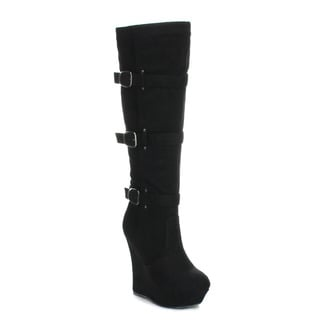 PAZZLE GA51 Women's Platform Wedge Side-zip Knee High Boot